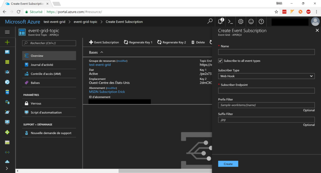 Azure Event Grid Subscription